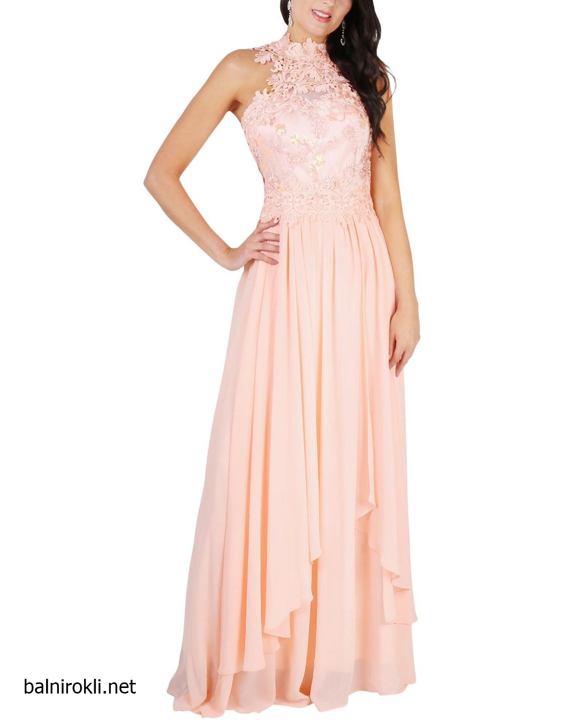 розова дълга рокля