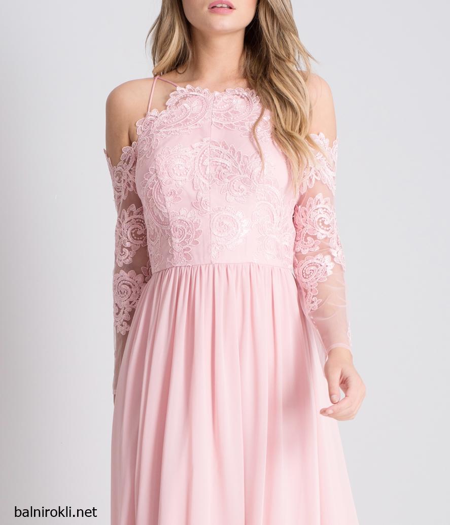 розова официална рокля с дантела