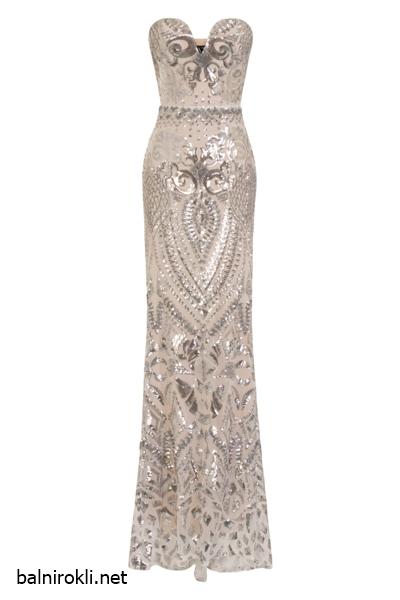 Сребриста дълга официална рокля