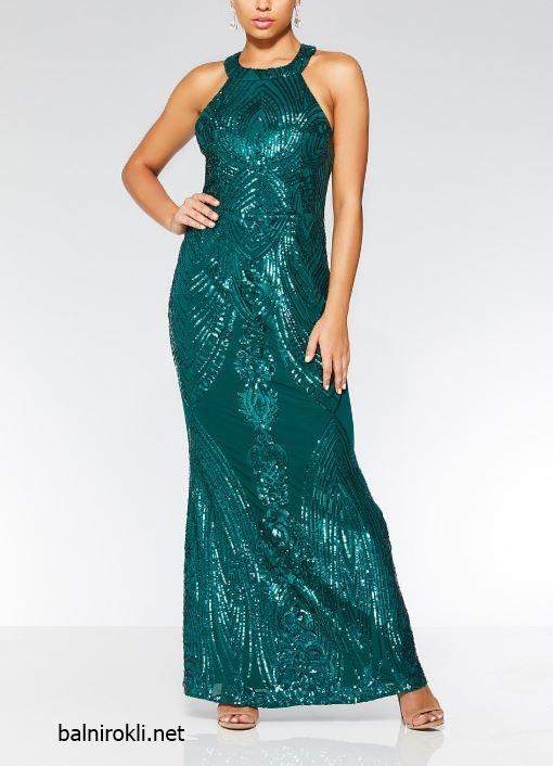 зелена официална дълга блестяща рокля