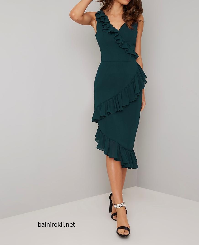 зелена официална рокля асиметрична шифон