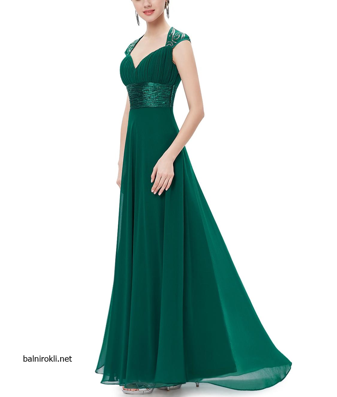 зелена дълга бална рокля шифон