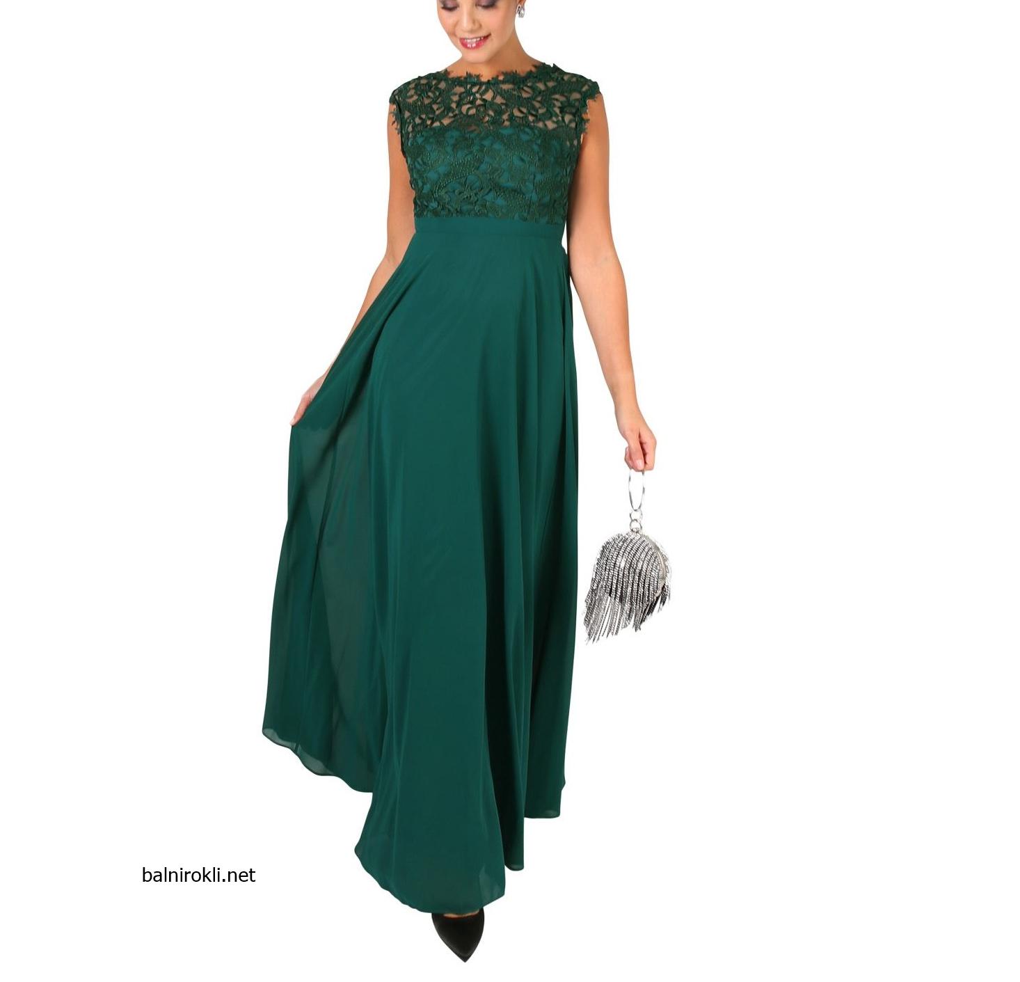зелена дълга вечерна рокля дантела и шифон