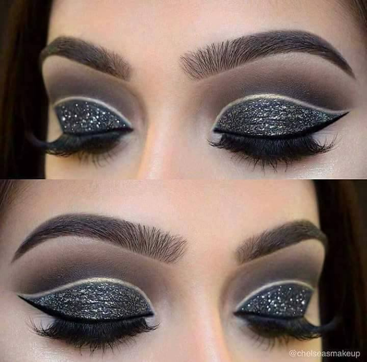 красиви очи с модерен грим в сребристо