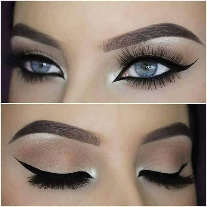 красиви очи с модерен грим в неутрален натурален цвят
