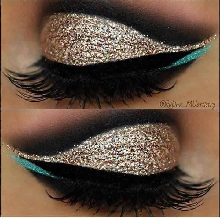 красиви очи със златист грим
