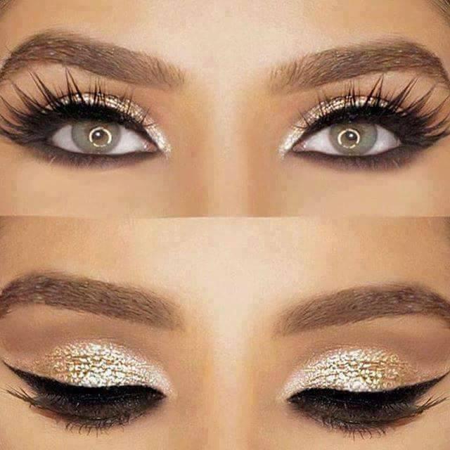красиви очи със златисти сенки