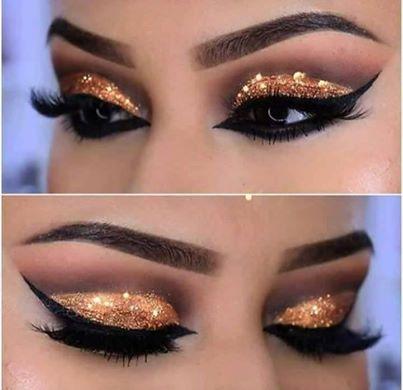 красиви очи със сенки брокат