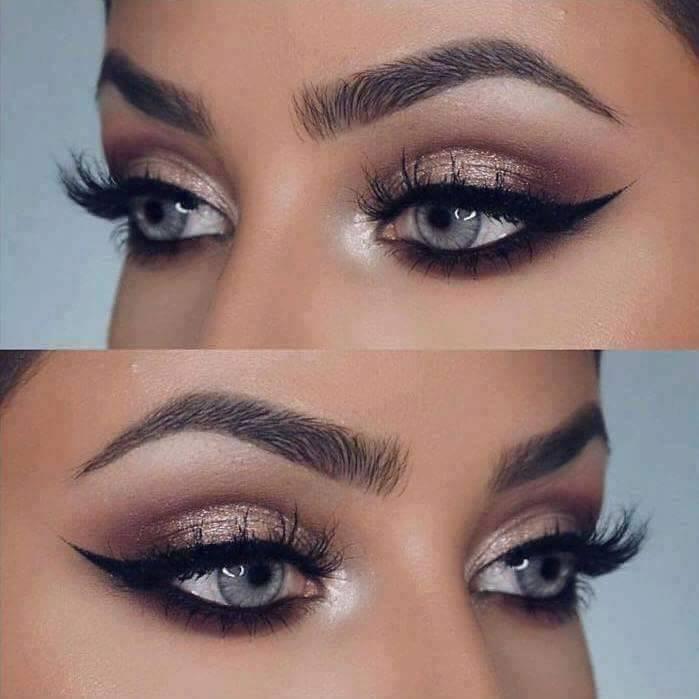 красиви очи с модерен златисти грим