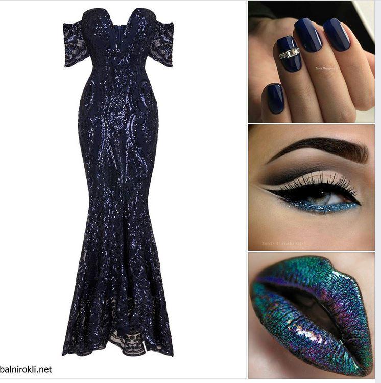 блестяща дълга тъмносиня бална рокля