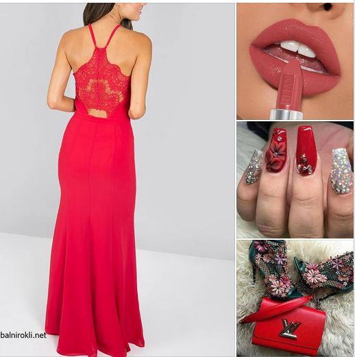 дълга червена бална рокля дантела