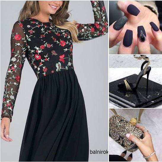 къса черна официална рокля средна дължина бродерии