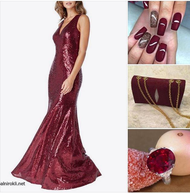 дълга бална блестяща рокля бордо