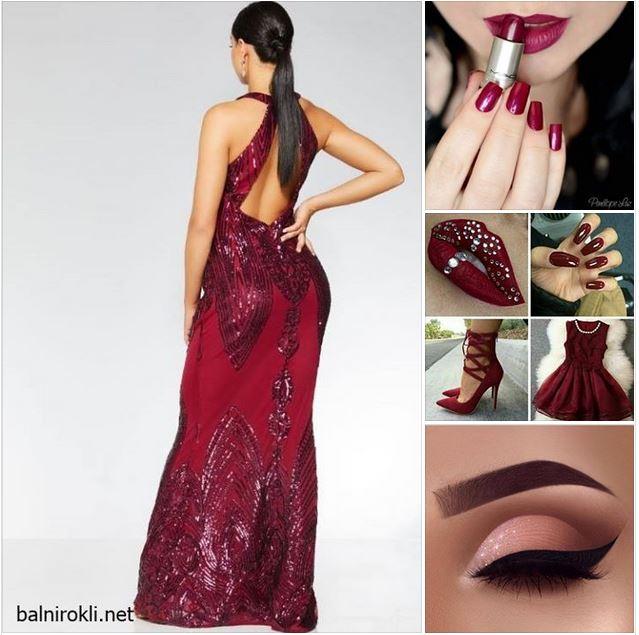 блестяща рокля бордо гол гръб