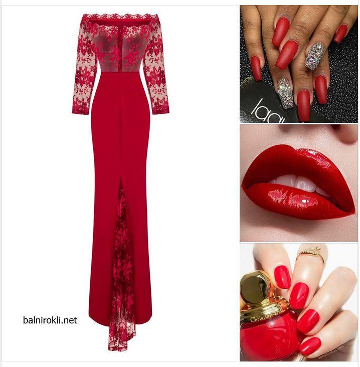 червена бална рокля русалка