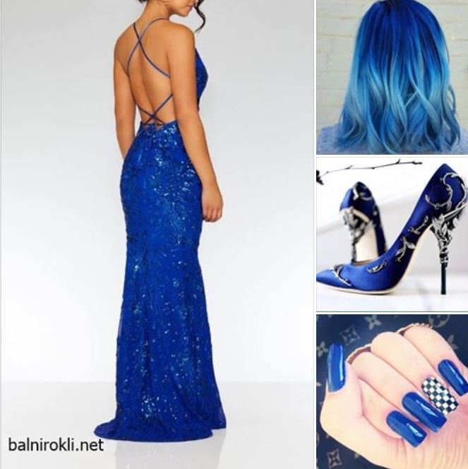 синя блестяща бална рокля гол гръб