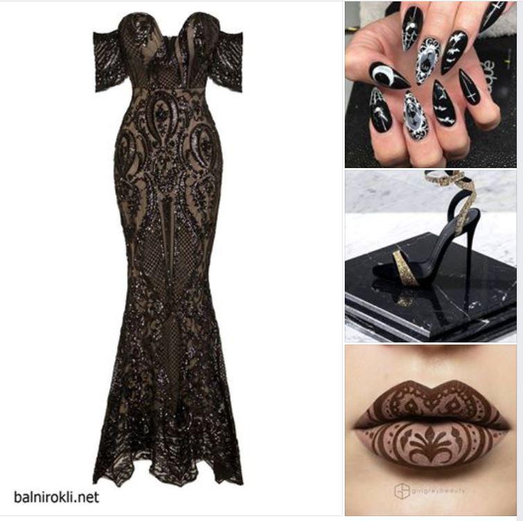 блестяща дълга бална черна рокля