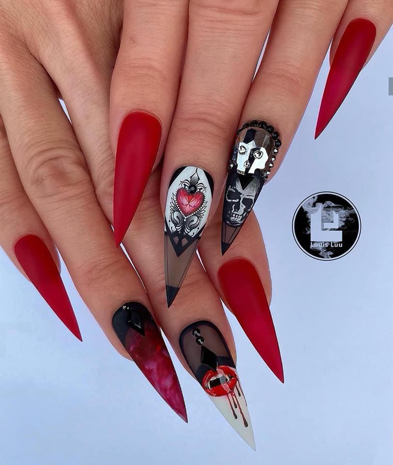 модерен маникюр в червено и черно