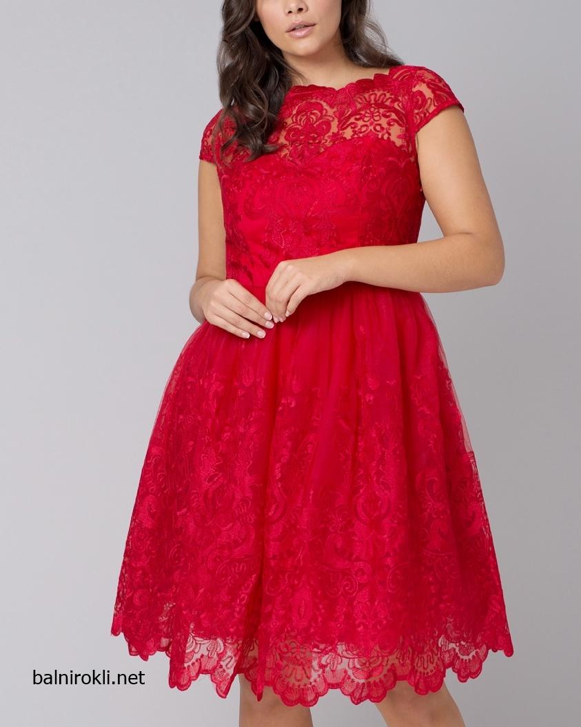Червена официална рокля бродерии