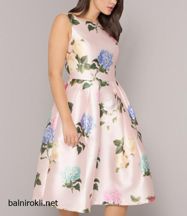 розова рокля флорален принт макси дами