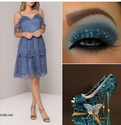 Дантелена къса синя официална рокля