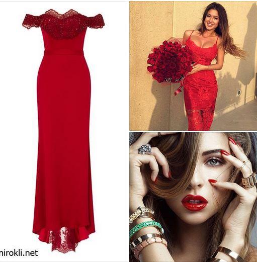 червена официална дълга рокля