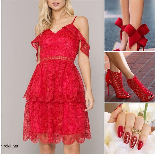 червена дантелена къса рокля