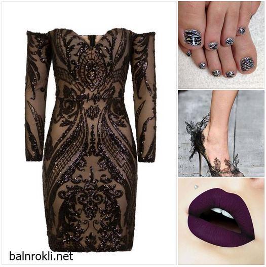 официална къса черна блестяща рокля