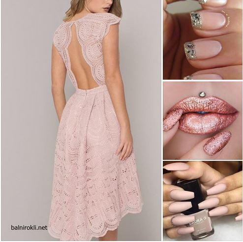 розова бална дантелена рокля