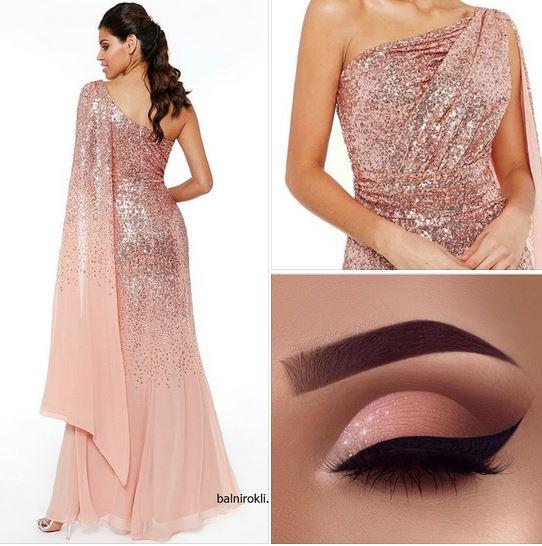 розова бална блестяща рокля цвят праскова