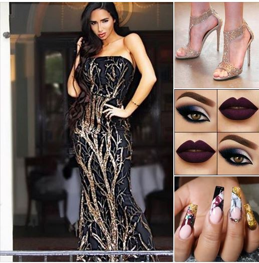 блестяща официална рокля черно и златисто