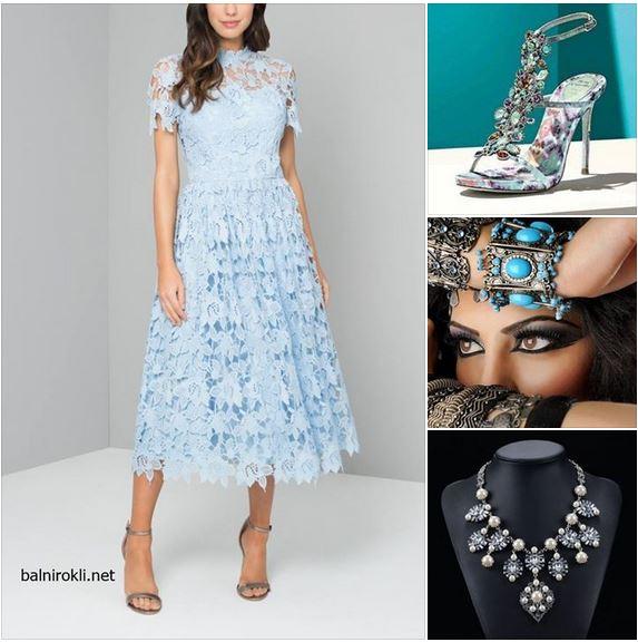 дантелена официална рокля пастелно син цвят