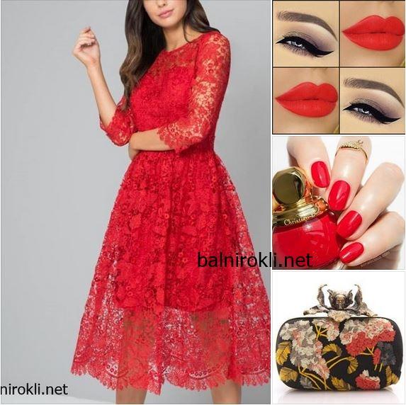 червена официална дантелена луксозна рокля