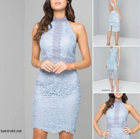 дантелена светлосиня права официална рокля