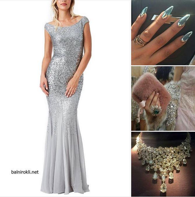 сребриста официална рокля
