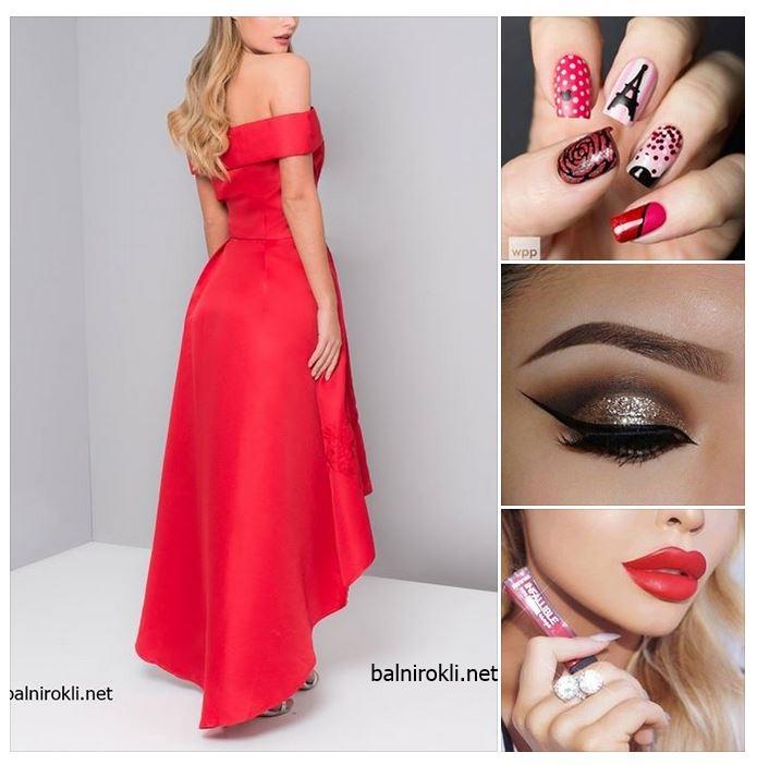 червена официална асиметрична рокля сатен