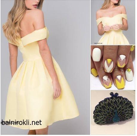 жълта официална къса рокля сатен