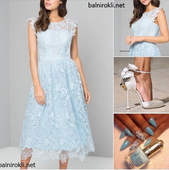 дантелена официална рокля средна дължина