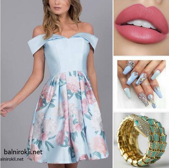 пастелно синя къса бална рокля сатен флорал