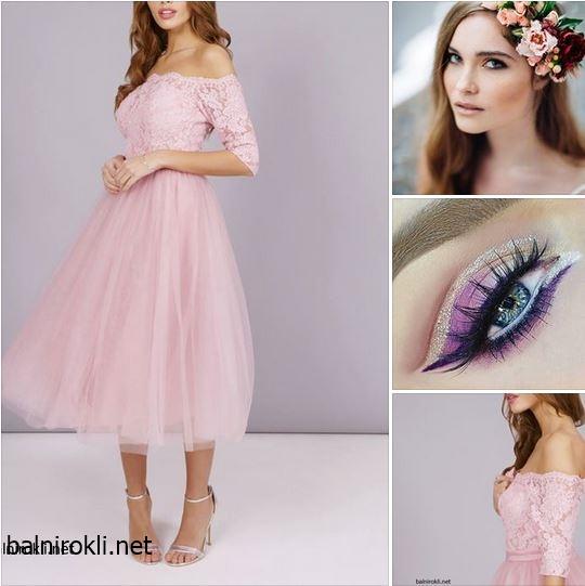 розова официална рокля тюл дантела