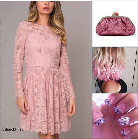 къса розова официална дантелена рокля