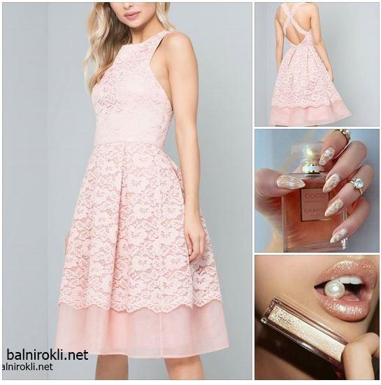 елегантна розова официална рокля дантела