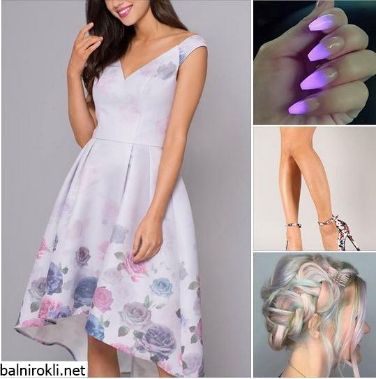 пастелно лилава официална рокля флорал