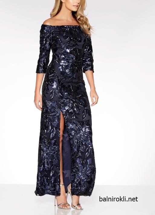блестяща бална тъмносиня дълга рокля