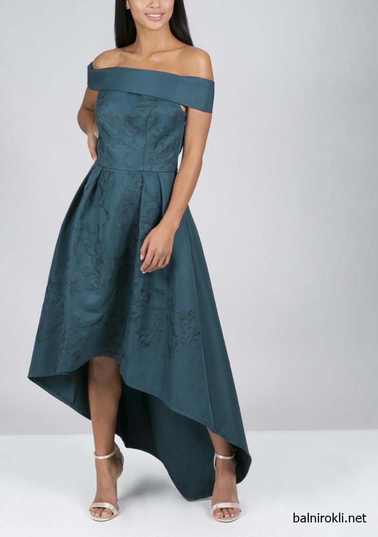 асиметрична зелена официална рокля сатен