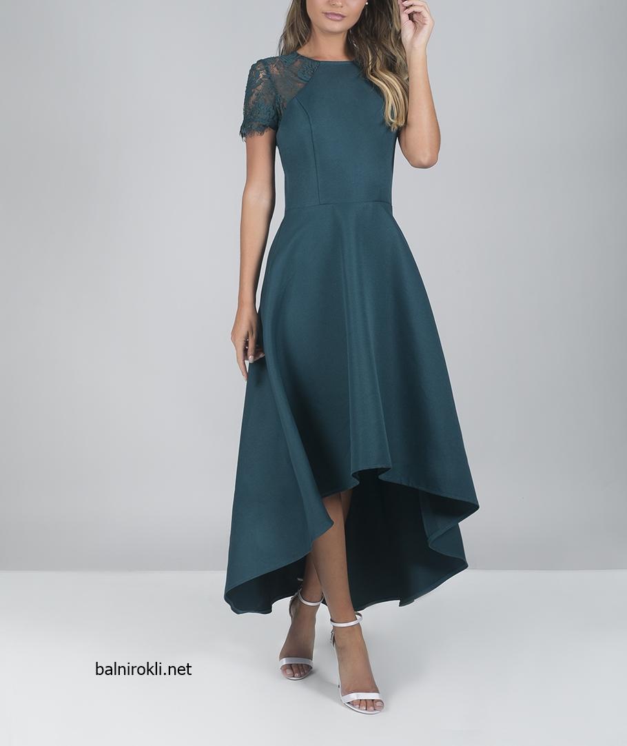 зелена асиметрична официална рокля сатен и дантела