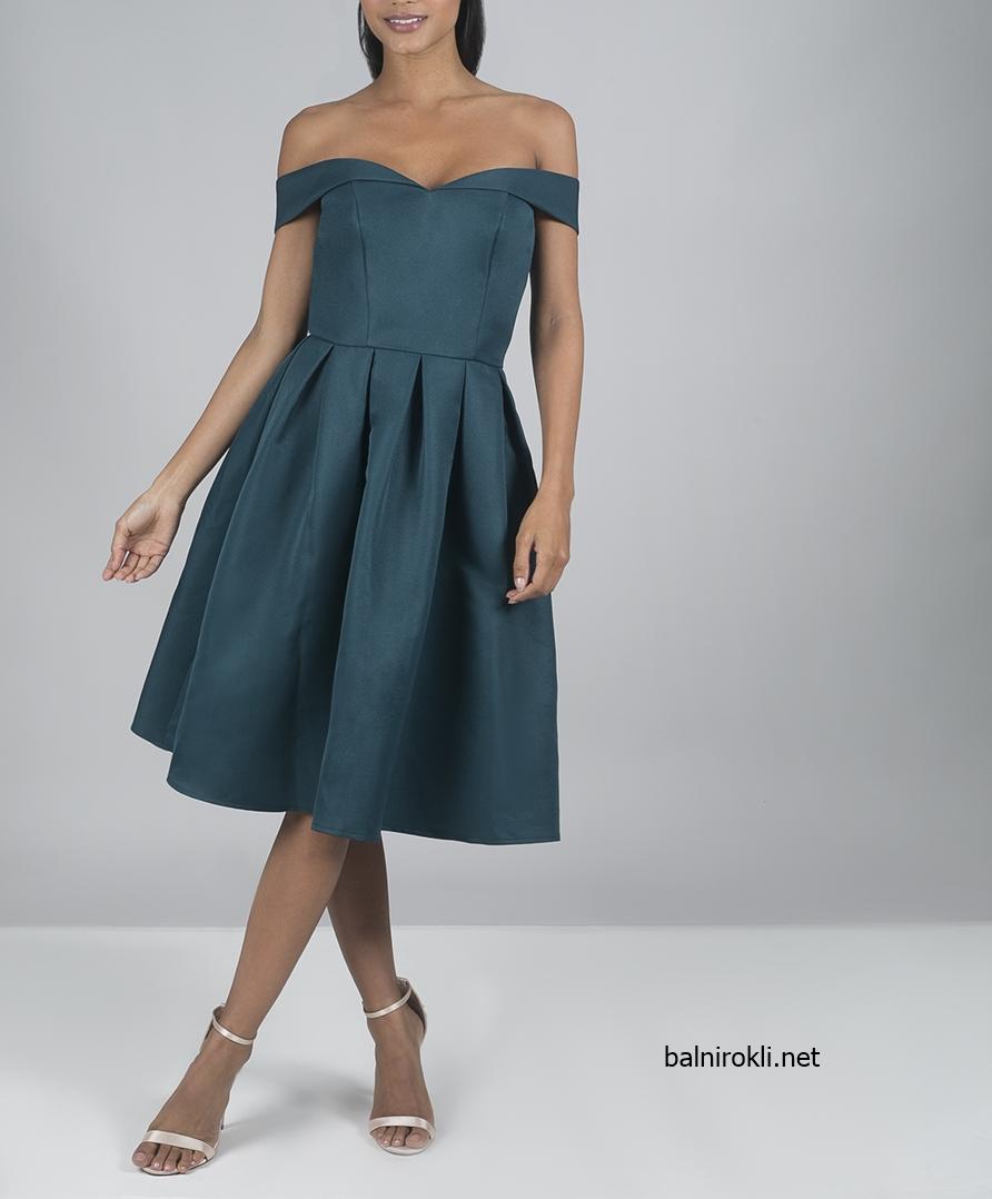 къса зелена рокля сатен