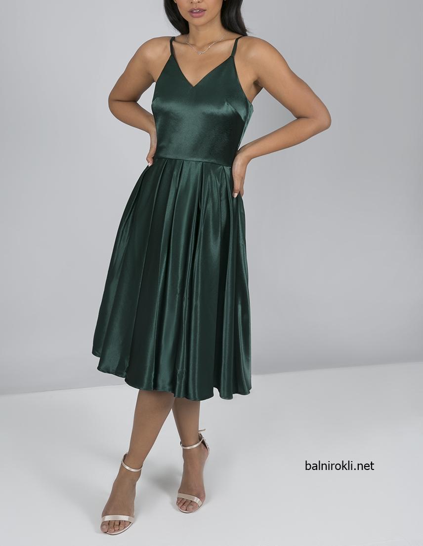 къса зелена рокля за парти сатен
