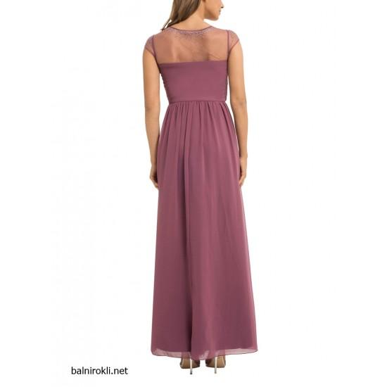 Бална Дълга Виолетова Рокля  Прозрачен Панел с Кристали