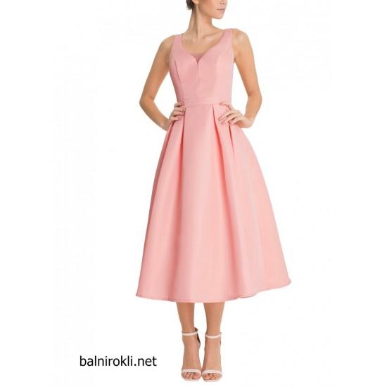 Елегантна Официална Розова Рокля Средна Дължина